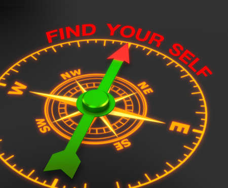 compass with the needle pointing the word find your self. 3d rendering
