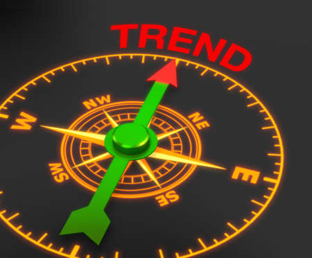 compass with the needle pointing the word trend. 3d rendering