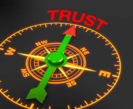 cohesion: compass with the needle pointing the word trust. 3d rendering