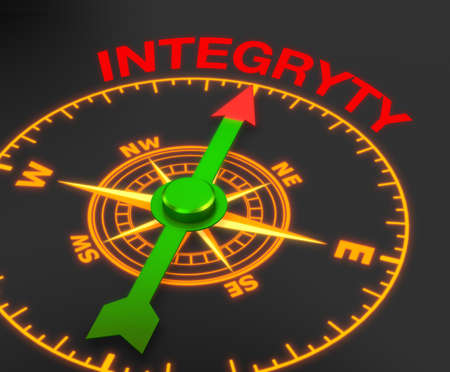 uprightness: compass with the needle pointing the word integryty. 3d rendering