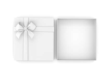 gift box for Christmas, New Years Day ,Open white gift box top view white background 3d rendering