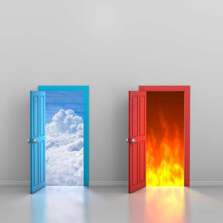 Doors to heaven and hell, 3d rendering Banco de Imagens