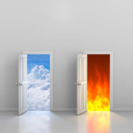 Doors to heaven and hell, 3d rendering Stock Photo