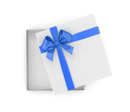 new years day: gift box for Christmas, New Years Day ,Open bluegift box top view white background 3d rendering