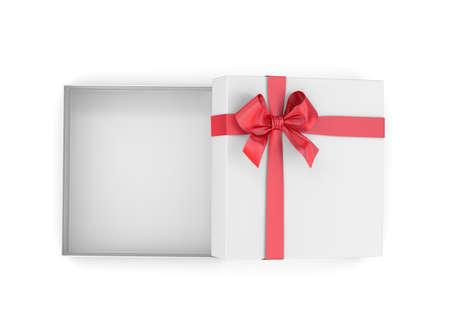 new years day: gift box for Christmas, New Years Day ,Open red gift box top view white background 3d rendering