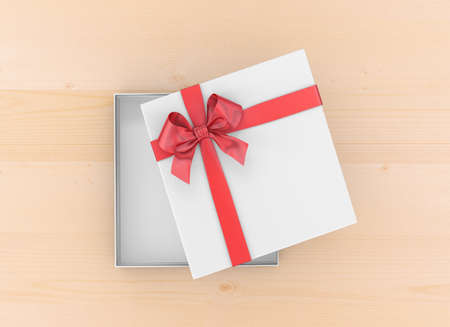new years day: gift box for Christmas, New Years Day ,Open red gift box top view on table background 3d rendering Stock Photo