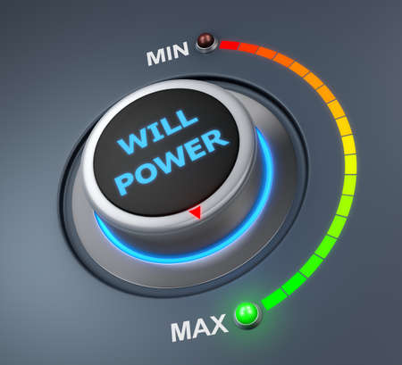 overcoming: will power button position. Concept image for illustration of will power in the maximum position , 3d rendering Stock Photo