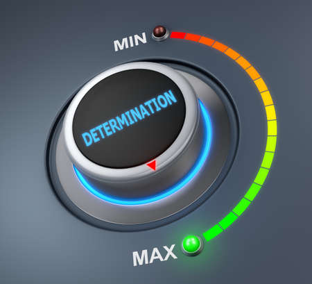 attainment: determination button position. Concept image for illustration of determination in the maximum position , 3d rendering