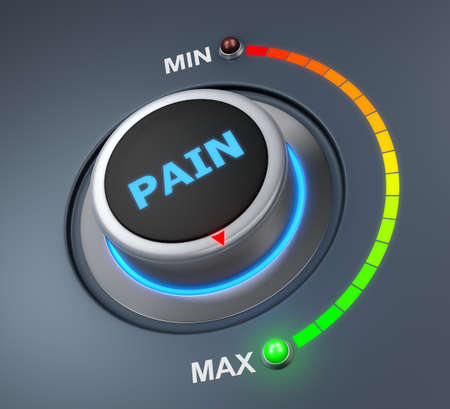 3d lightning: pain button position. Concept image for illustration of pain in the highest position , 3d rendering