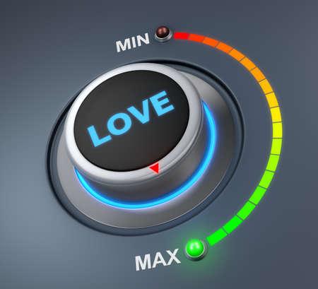 position d amour: aimer la position du bouton. image Concept pour l'illustration de l'amour dans la position maximale, rendu 3d