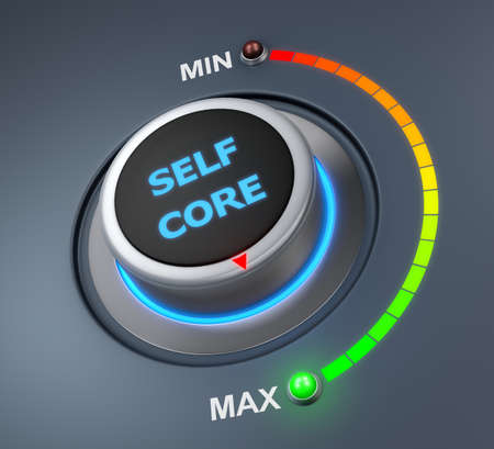 self core button position. Concept image for illustration of self core in the maximum position , 3d rendering Stock Photo