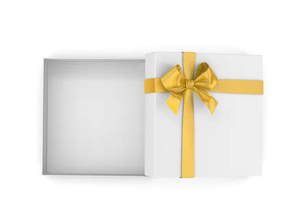new years day: gift box for Christmas, New Years Day ,Open yellowgift box top view white background 3d rendering