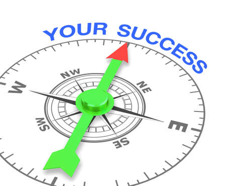 compass with the needle pointing the word your success. 3d rendering