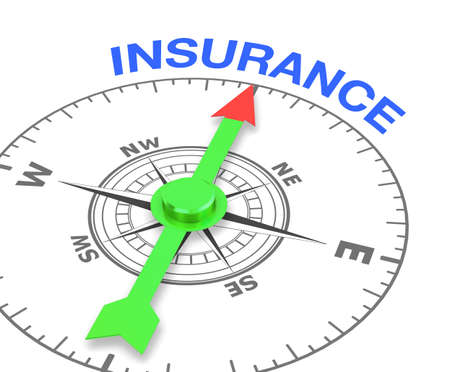 service broker: compass with the needle pointing the word insurance. 3d rendering