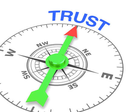 compass with the needle pointing the word trust. 3d rendering