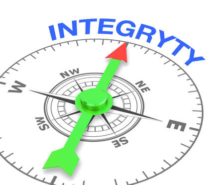 ethical: compass with the needle pointing the word integryty. 3d rendering