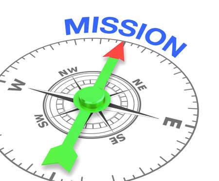 compass with the needle pointing the word mission. 3d rendering