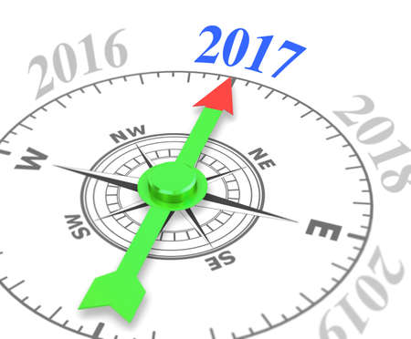 compass with the needle pointing the word 2017. 3d rendering , shallow depth of field.