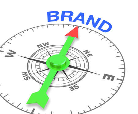compass with the needle pointing the word brand, 3d rendering