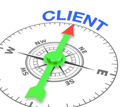 prospecting: compass with the needle pointing the word client, 3d rendering