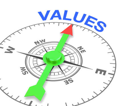 compass with the needle pointing the word values, 3d rendering Stock Photo