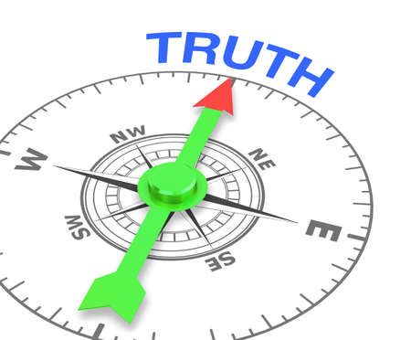 compass with the needle pointing the word trut, 3d rendering
