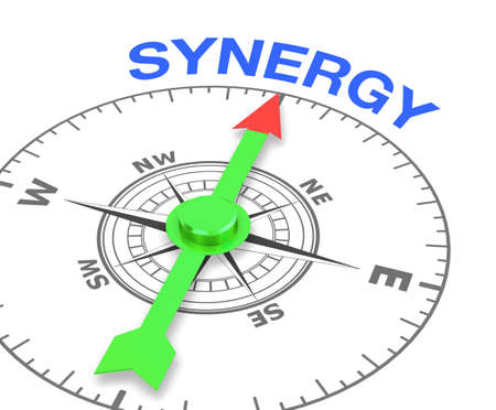 common goals: compass with the needle pointing the word synergy. 3d rendering Stock Photo