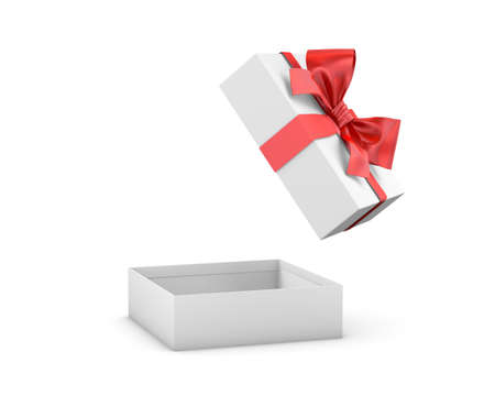 gift box for Christmas, New Years Day ,Open red gift box white background 3d rendering Stock Photo