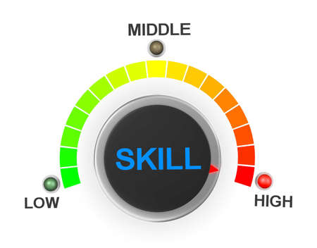 surpass: skill button position. Concept image for illustration of skill in the highest position , 3d rendering