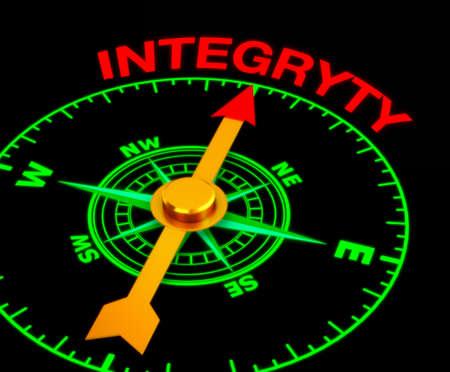 valores morales: brújula con la aguja apuntando hacia la palabra integryty. Las 3D