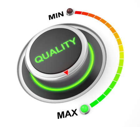 quality button position. Concept image for illustration of quality in the maximum position , 3d rendering Stock Illustration - 63679972