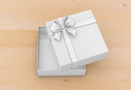 open box: gift box for Christmas, New Years Day ,Open white gift box top view wood background 3d rendering Stock Photo