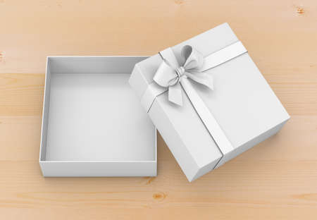 new years day: gift box for Christmas, New Years Day ,Open white gift box top view wood background 3d rendering Stock Photo