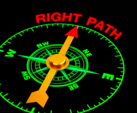 the right path: compass with the needle pointing the word right path. 3d rendering Stock Photo