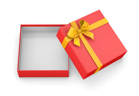 new years day: gift box for Christmas, New Years Day ,Open red yellow gift box top view white background 3d rendering Stock Photo