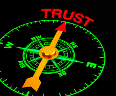 teaming: compass with the needle pointing the word trust. 3d rendering