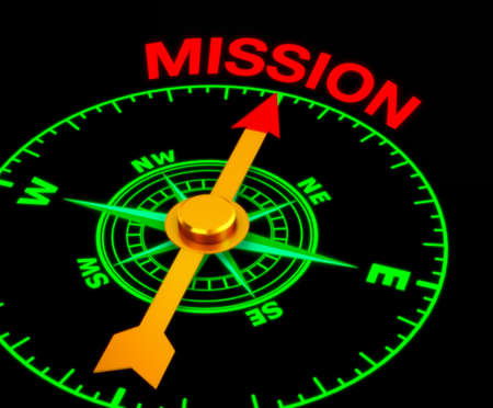 mandate: compass with the needle pointing the word mission. 3d rendering