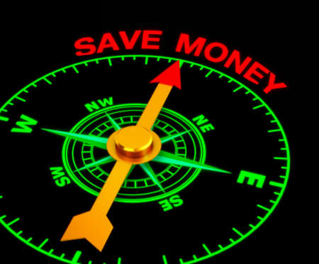 compass with the needle pointing the word save money. 3d rendering
