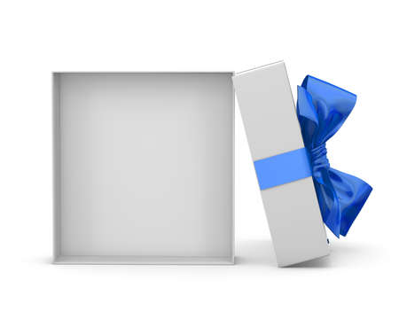 gift box for Christmas, New Years Day ,Open blue sky  gift box white background 3d rendering