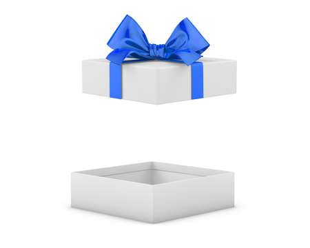 new years day: gift box for Christmas, New Years Day ,Open blue gift box white background 3d rendering