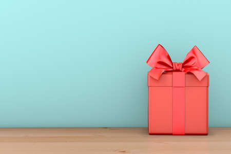 red gift box with ribbon bow,blue sky background , 3d rendering Фото со стока