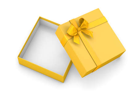 gift box for Christmas, New Years Day ,Open gold yellow gift box top view white background 3d rendering