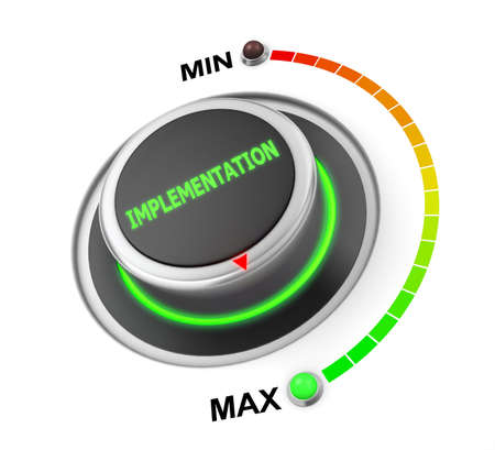 implementation: implementation button position. Concept image for illustration of implementation in the highest position , 3d rendering