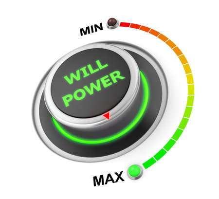 surpass: will power button position. Concept image for illustration of will power in the maximum position , 3d rendering Stock Photo