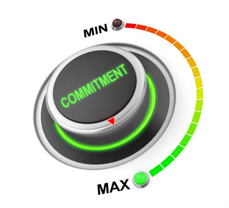 highest: commitment button position. Concept image for illustration of commitment in the highest position , 3d rendering