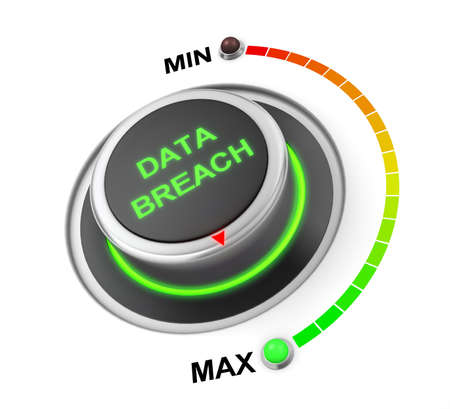 breach: data breach button position. Concept image for illustration of data breach in the highest position , 3d rendering