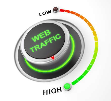 web traffic: web traffic button position. Concept image for illustration of web traffic in the highest position , 3d rendering