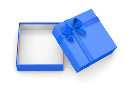 new years day: gift box for Christmas, New Years Day ,Open blue sky  gift box top view white background 3d rendering Stock Photo