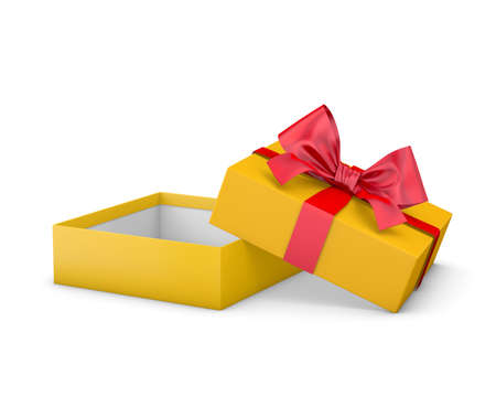gift box for Christmas, New Years Day ,Open red yellow gold gift box white background 3d rendering
