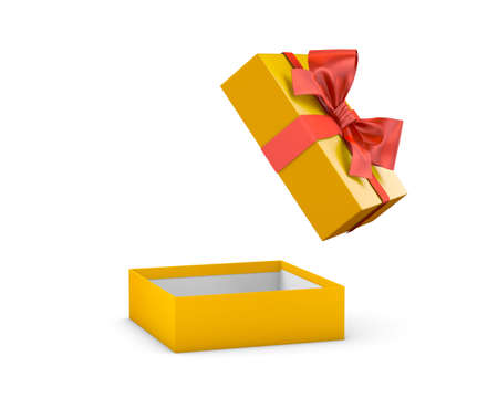 christmas present: gift box for Christmas, New Years Day ,Open red yellow gold gift box white background 3d rendering